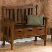 Pecos 3-Drawer Country Bench (Oak)