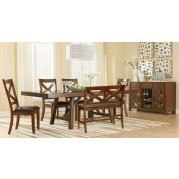 Omaha Dining Room Set w/ Bench (Brown)