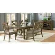 Omaha Dining Room Set w/ X-Back Bench (Grey)