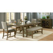 Omaha Dining Room Set w/ Upholstered Bench (Grey)