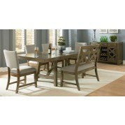 Omaha Dining Room Set w/ Bench and Upholstered Chairs (Grey)