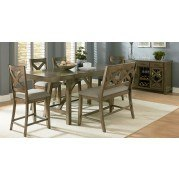 Omaha Counter Height Dining Set w/ X-Back Bench (Grey)