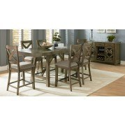 Omaha Counter Height Dining Set w/ X-Back Chairs (Grey)