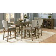 Omaha Counter Height Dining Set w/ Upholstered Chairs (Grey)