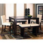 Kemper Rectangular Counter Height Dining Set w/ Ivory Chairs