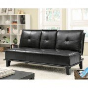 Black Leather-Like Sofa Bed w/ Cupholders