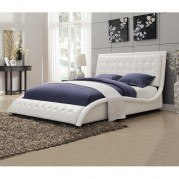 Tully White Upholstered Bed (Queen)