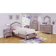 Caroline Storage Bedroom Set (Metallic Lilac)