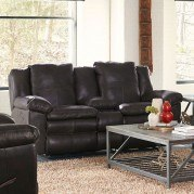 Aria Lay Flat Reclining Loveseat w/ Console (Chocolate)