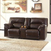 Barrettsville DuraBlend Chocolate Reclining Loveseat w/ Console
