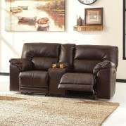 Barrettsville DuraBlend Chocolate Power Reclining Loveseat w/ Console