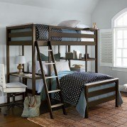 myRoom Metal Twin Loft Bunk Bed (Parchment/ Gray)