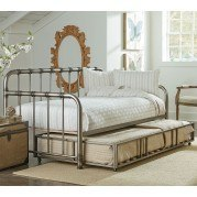 Tristen Metal Daybed w/ Trundle (Aged Pewter)