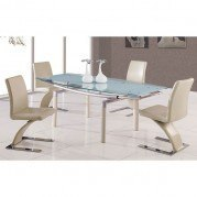 88DT Frosted Top Dining Room Set w/ Beige Chairs