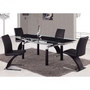 88DT Black Glass Dining Room Set w/ Black Chairs
