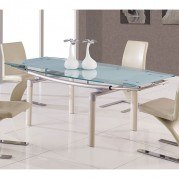 88DT Glass Dining Table w/ Beige Legs