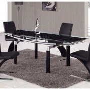 88DT Black Glass Dining Table w/ Black Legs