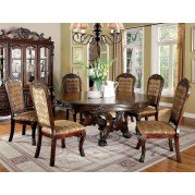 Medieve Round Dining Room Set (Cherry)