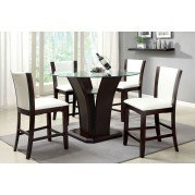 Manhattan III Counter Height Dining Set w/ White Chairs