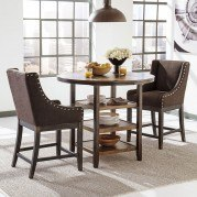 Moriann Bar Table Set w/ Brown Wing Back Barstools