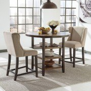 Moriann Bar Table Set w/ Beige Wing Back Barstools