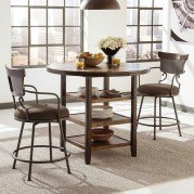 Moriann Bar Table Set w/ Swivel Metal Barstools