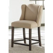 Moriann Beige Wing Back Barstool (Set of 2)