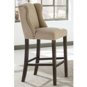 Moriann Tall Beige Wing Back Barstool (Set of 2)