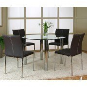 Napoli Round Dinette w/ Corona Brown Chairs