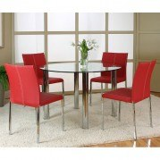 Napoli Round Dinette w/ Corona Red Chairs