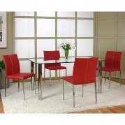 Napoli Dining Room Set w/ Corona Red Chairs
