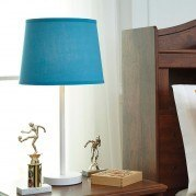 Shonie Metal Table Lamp (Teal/White)