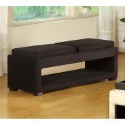 Cancun Double Tray Bench In Black Microfiber