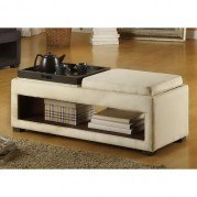 Cancun Double Tray Bench In Cream Microfiber