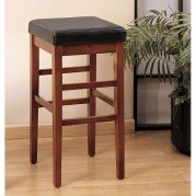 Sonata 30 inch Stationary Barstool (Brown Leather)