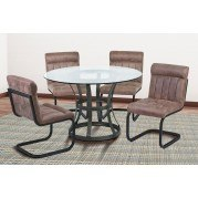 Vancouver Dining Room Set w/ Tobacco Side Chairs (Mineral)