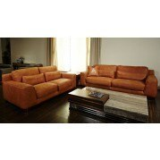 Mia Bella Nafelli Leather Living Room Set (Clay)