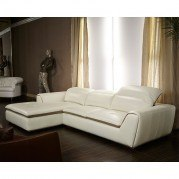 Mia Bella Vanuto Leather Left Chaise Sectional (Eggshell)