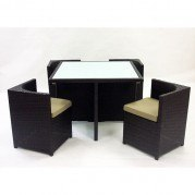 Brown Woven Rattan 5 Piece Outdoor Dining Set