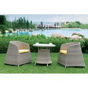 Gray Woven Rattan 3 Piece Outdoor Dining Set