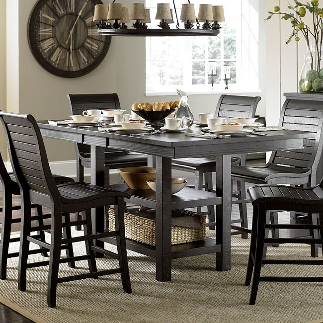 Stanton Counter Height Dining Table In Black: Willow Rectangular Counter Height Table (Distressed Black