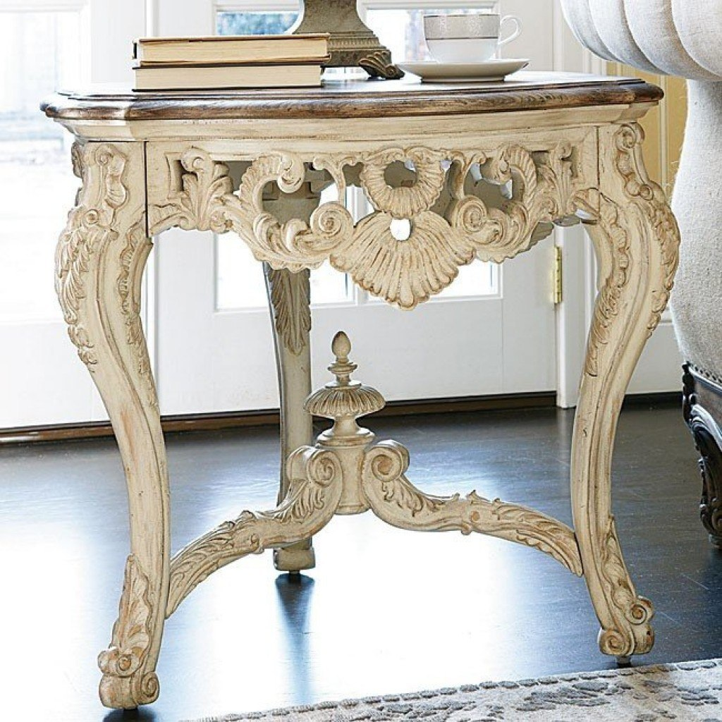 Jessica Mcclintock The Boutique Carved End Table White Veil