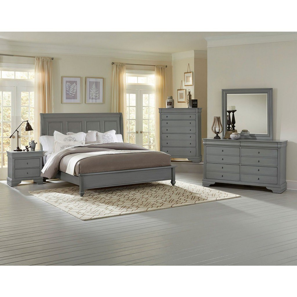 french market low profile bedroom set (zinc) vaughan bassett | furniture cart