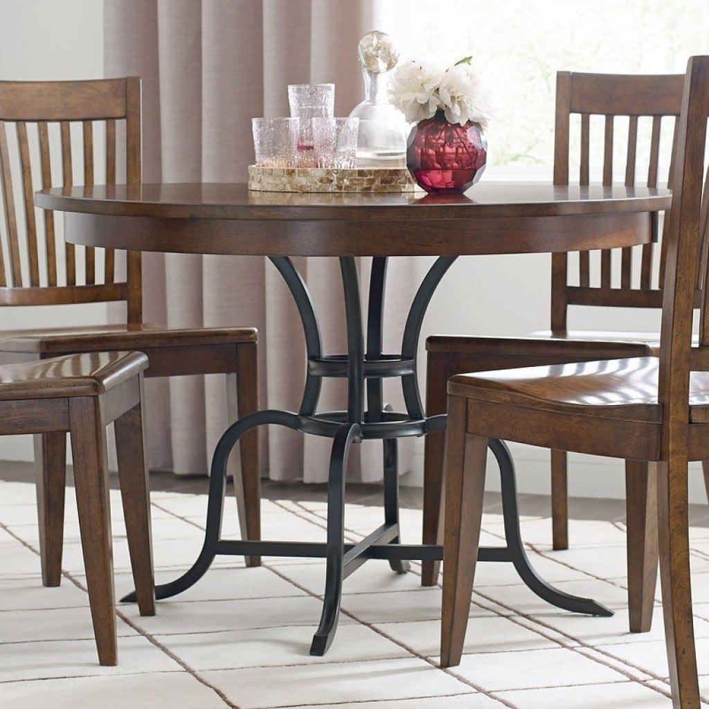 The Nook 44 Inch Round Metal Dining Table (Maple)