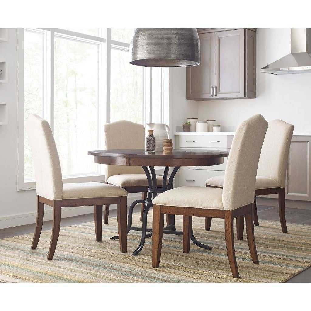 The Nook 44 Inch Round Metal Dining Set (Maple) W/ Parsons Chairs