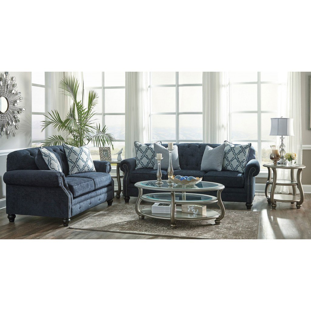 LaVernia Navy Living Room Set BenchCraft | Furniture Cart