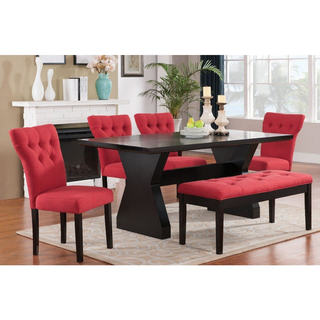 Red Dining Room Furniture: Effie Dining Room Set W/ Red Chairs Acme Furniture