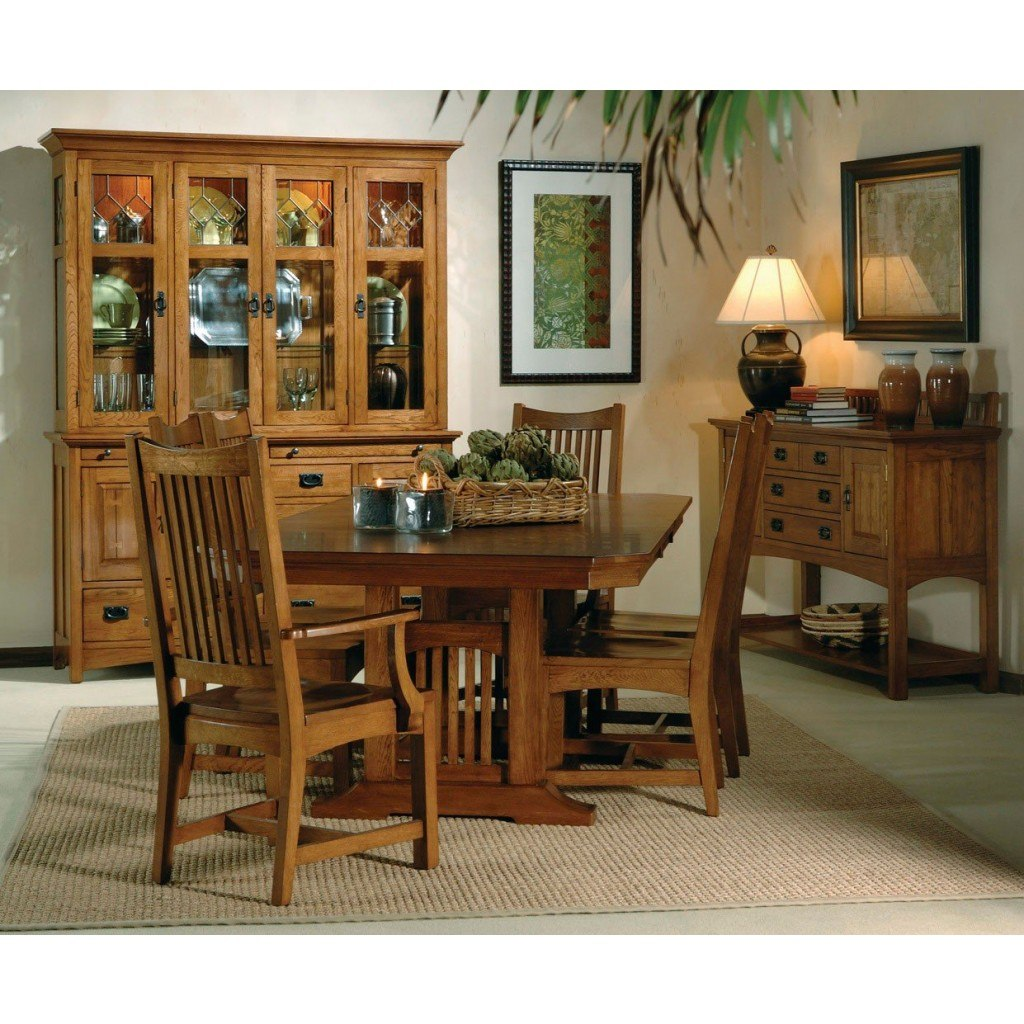 Arts And Crafts Trestle Dining Room Set W Wood Chairs