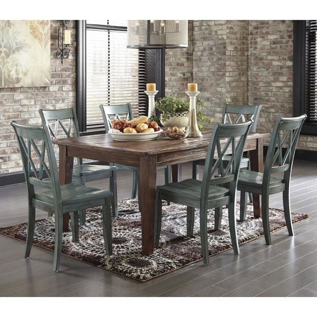 Brown And Blue Dining Room: Mestler Antique Blue/ Brown Pine Dining Set Signature