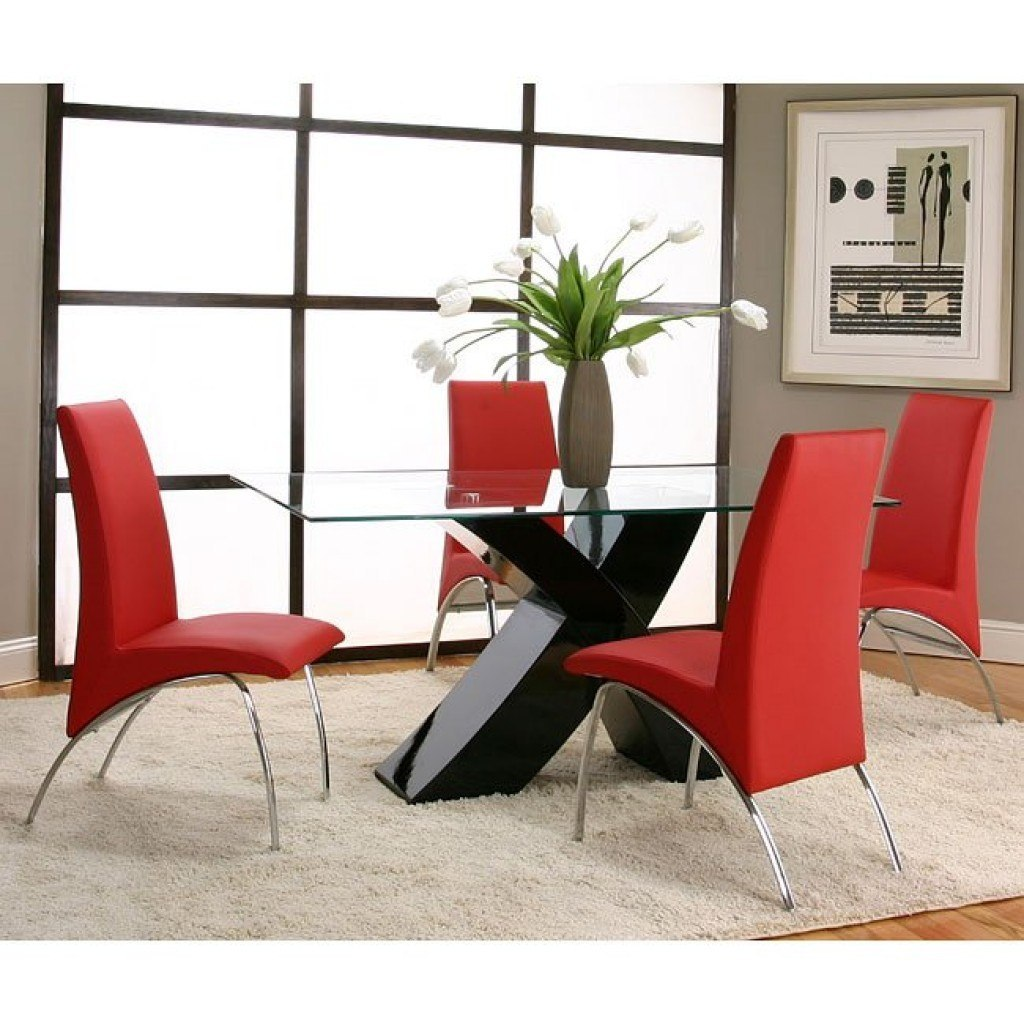 Red Dining Room Furniture: Mensa Black Base Dining Room Set With Red Chairs Cramco